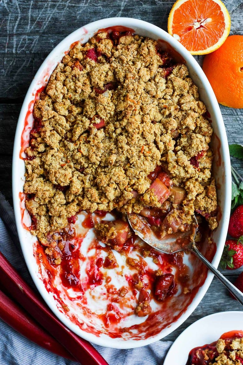 This Strawberry Rhubarb Cobbler is infused with ginger and orange zest and topped with a golden corn flour crust.