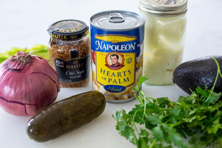 ingredients in hearts of palm tuna salad