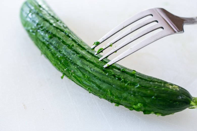 scoring the skin with a fork, elevates the salad