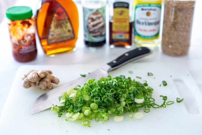 chop the scallions and gather the dressing ingredients