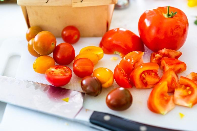 halve the cherry tomatoes