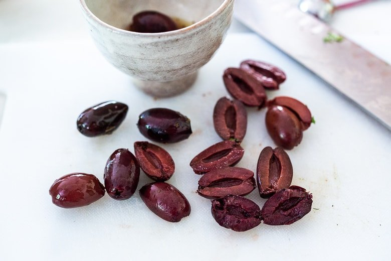 halve the olives