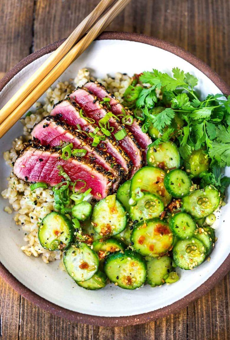 Seared Tuna with Sesame Curst. Learn how to make the best Sesame Crusted Ahi Tuna- crispy golden on the outside and rare on the inside in just 10 minutes flat! #tuna #ahi #searedtuna