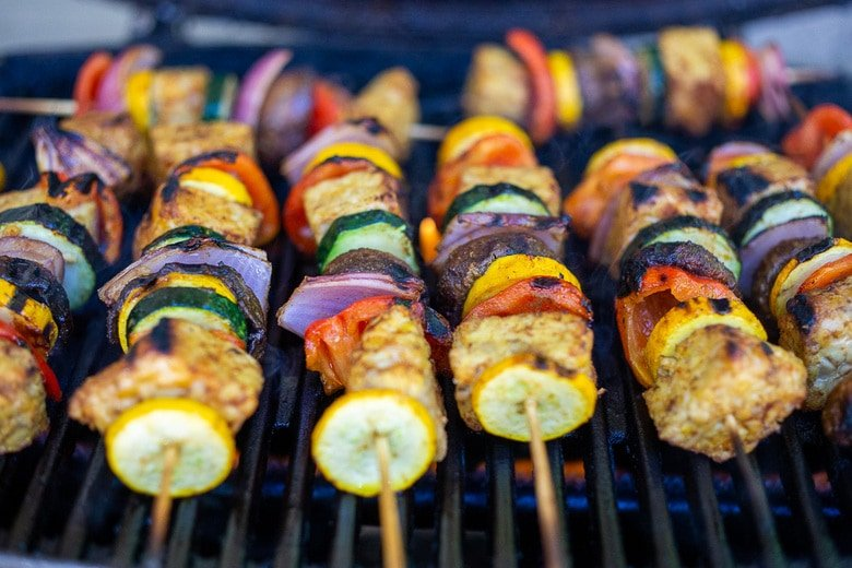 veggie skewers on the grill