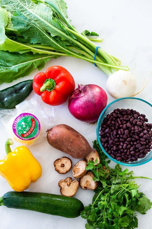 ingredients in the veggie quesadillas