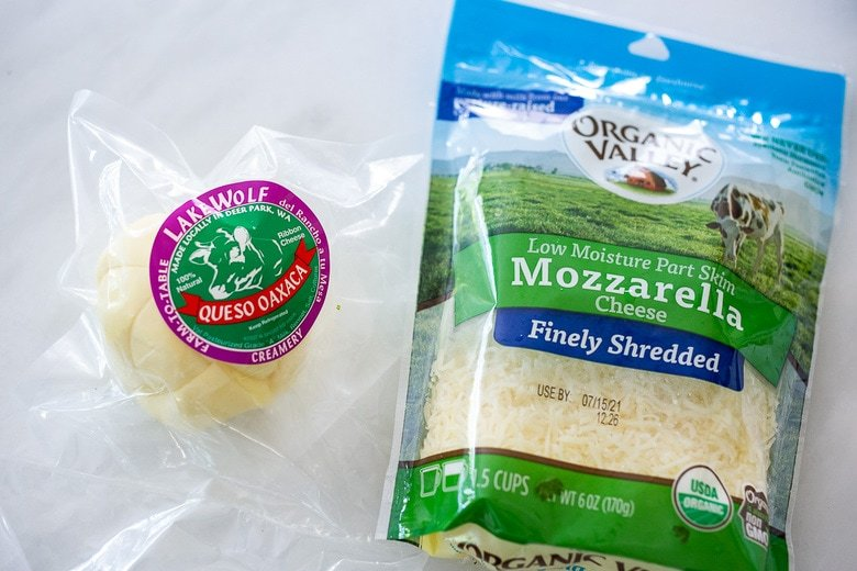 cheese options: Oaxacan cheese and shredded mozzarella