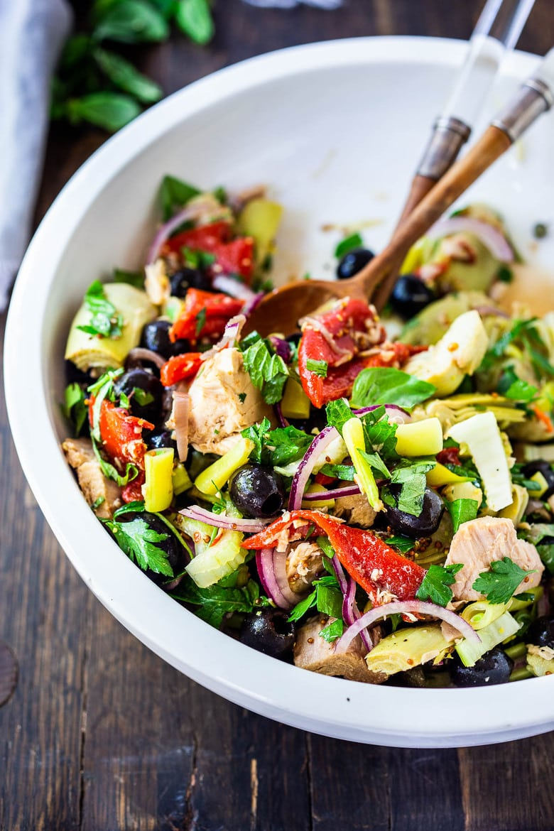 This Tuna Antipasto Salad is made with Pantry ingredients, fresh veggies, and lots of herbs, tossed in a simple Italian dressing. Low Carb!