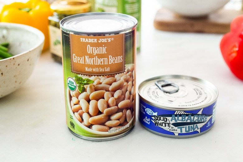white beans and canned tuna as protein options