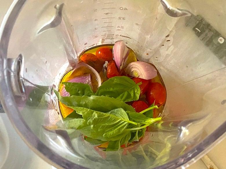 tomato vinaigrette ingredients in a blender