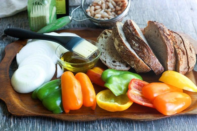 cut veggies and bread