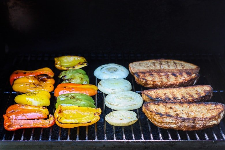 veggies cooking on the grill