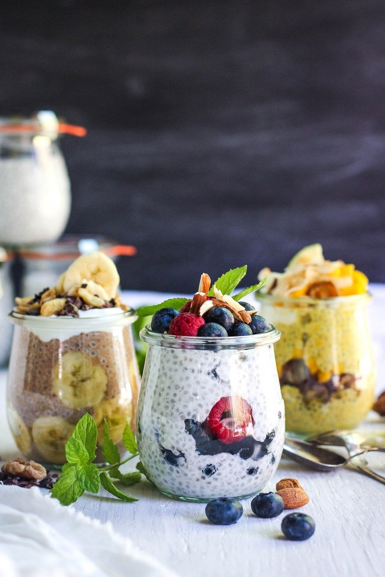 Chia Pudding with Greek Yogurt with three flavor variations! A healthy, delicious, make-ahead breakfast that is fast and easy to make. Vegan adaptable! #chiapudding