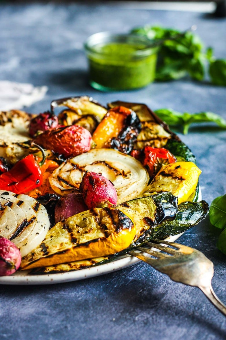 Grilled Veggies are the quintessential summer side dish. Here is a simple basic method for grilling veggies on the BBQ. Smoky and carmelized they are delicious as is or ready for most any sauce and protein paring.