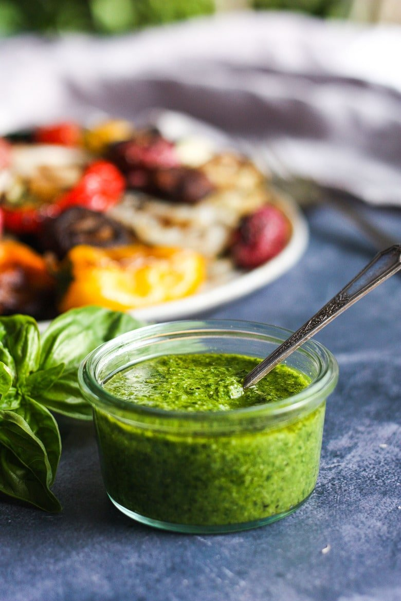 pesto in a jar with grilled veggies