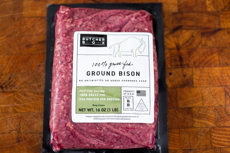 ground bison in a package