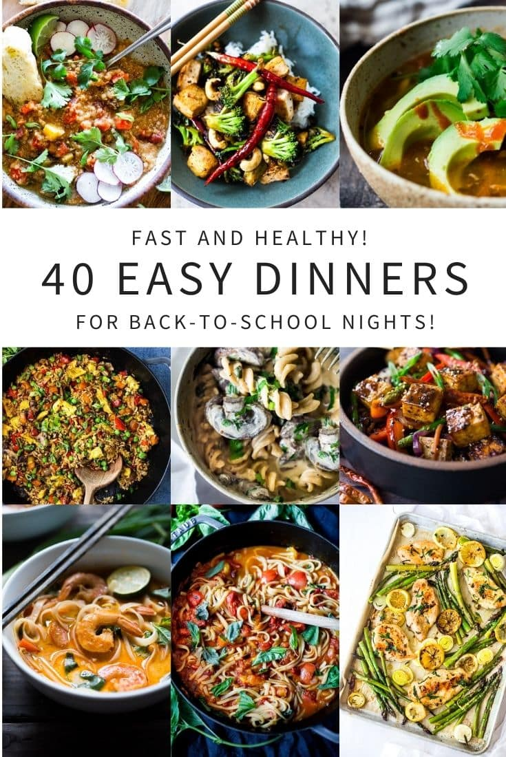 These easy dinner recipes are packed full of healthy veggies and can be made in 30 minutes or require very little hands on time! Great for back-to-school nights! #easydinner #quickdinner