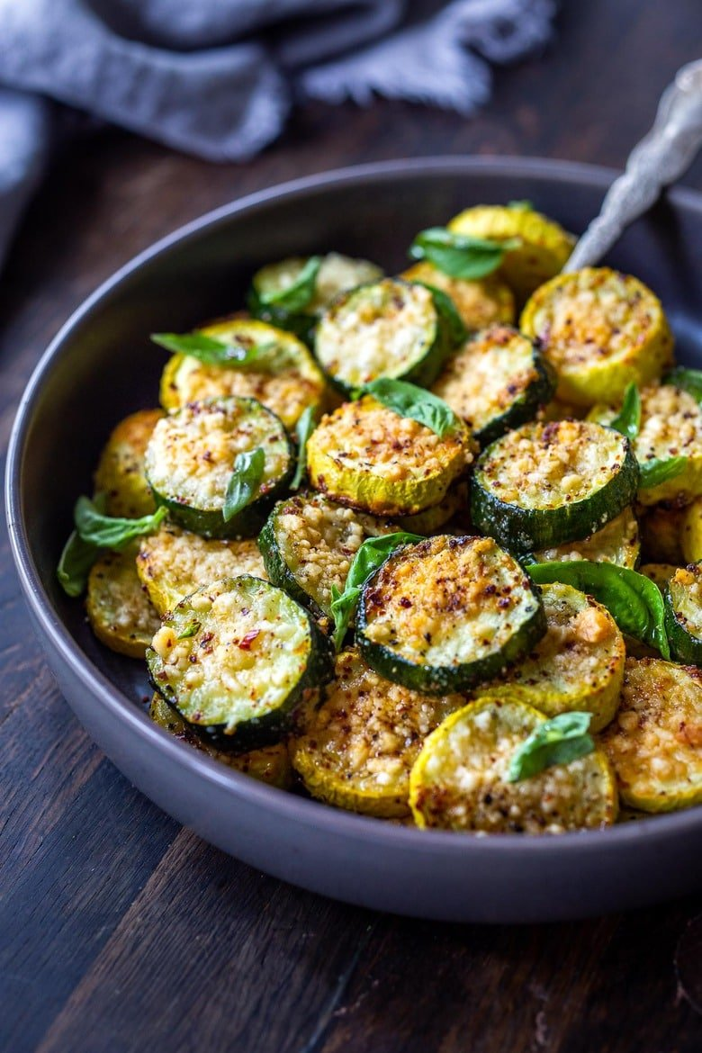 Crispy Baked Zucchini with Pecorino and basil- a delicious side dish that highlights summer zucchini!