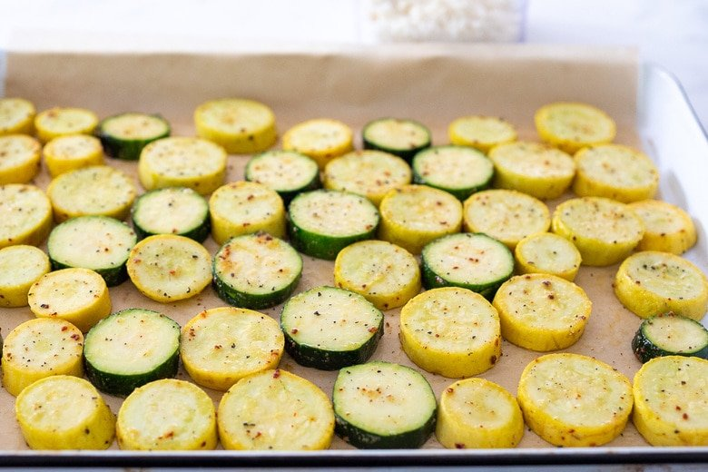 Place the zucchini on a parchment lined sheet pan