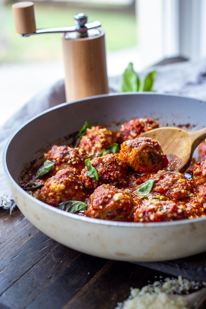 Italian Turkey Meatballs with Sun-dried Tomato and Basil, baked and simmered in Marinara Sauce