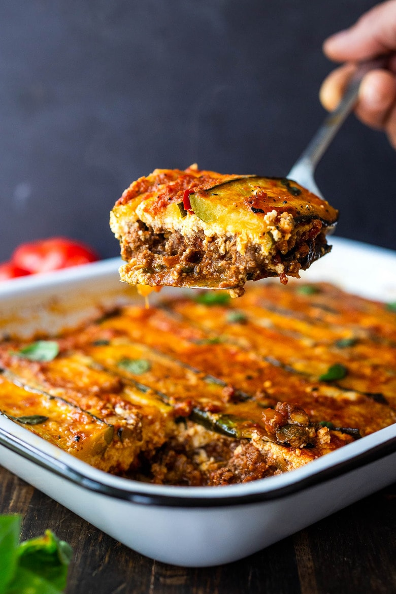 A savory recipe for Zucchini Lasagna, made without noodles for a low carb, keto version of one of our favorite meals! Vegetarian adaptable and Gluten-free.