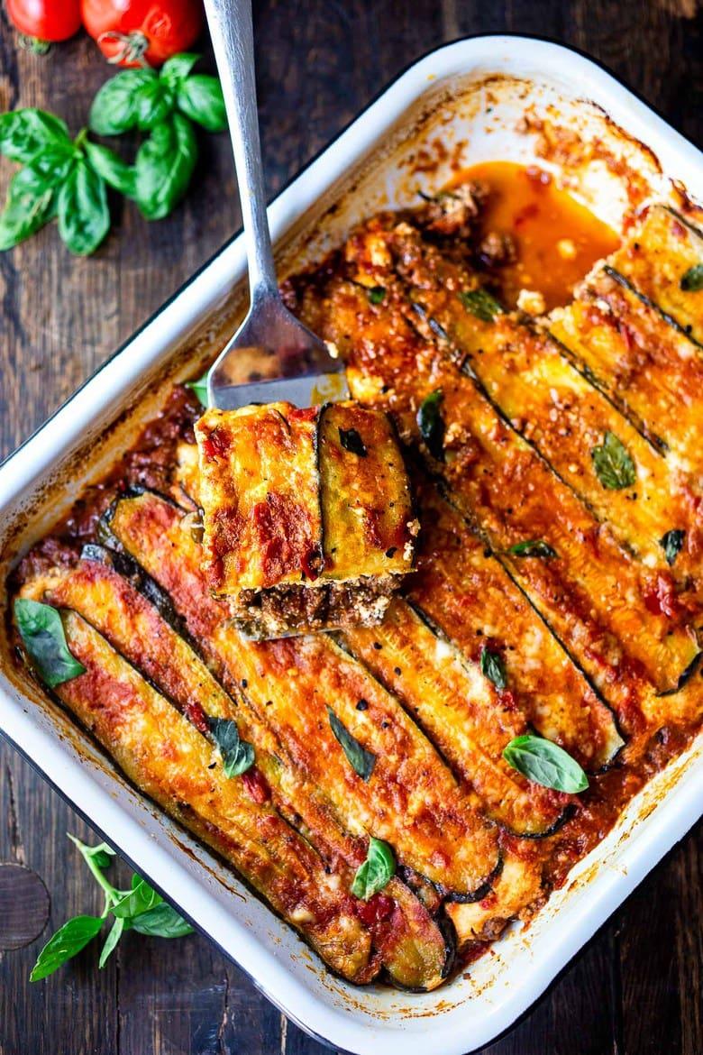30 Comfort Food Recipes for Fall! A savory recipe for Zucchini Lasagna, made without noodles for a low carb, keto version of one of our favorite meals! Vegetarian adaptable and Gluten-free.