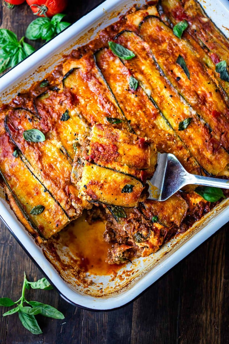 This Zucchini Lasagna Recipe is made without noodles for a low carb, keto version of one of our favorite meals! Vegetarian adaptable and Gluten-free.