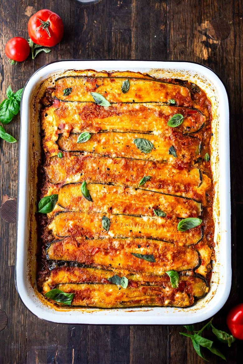 The finished dish: Baked Zucchini Lasagna, made without noodles for a low carb, keto version of one of our favorite meals!