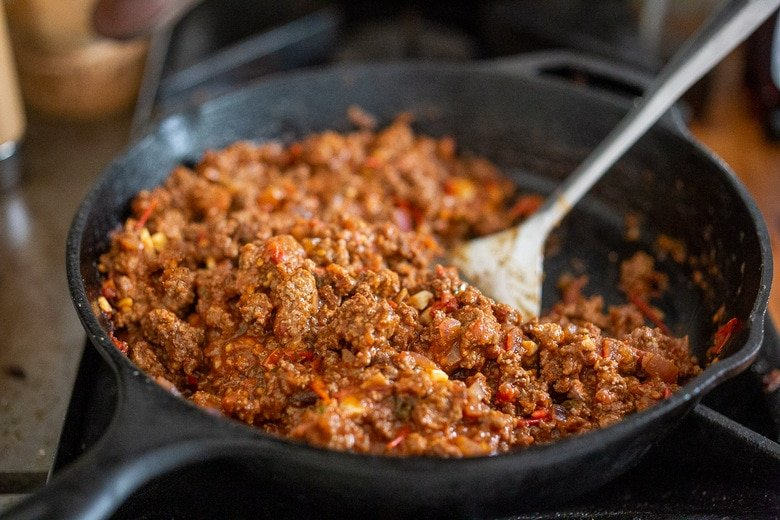 the meat sauce or bolognese sauce in the pan