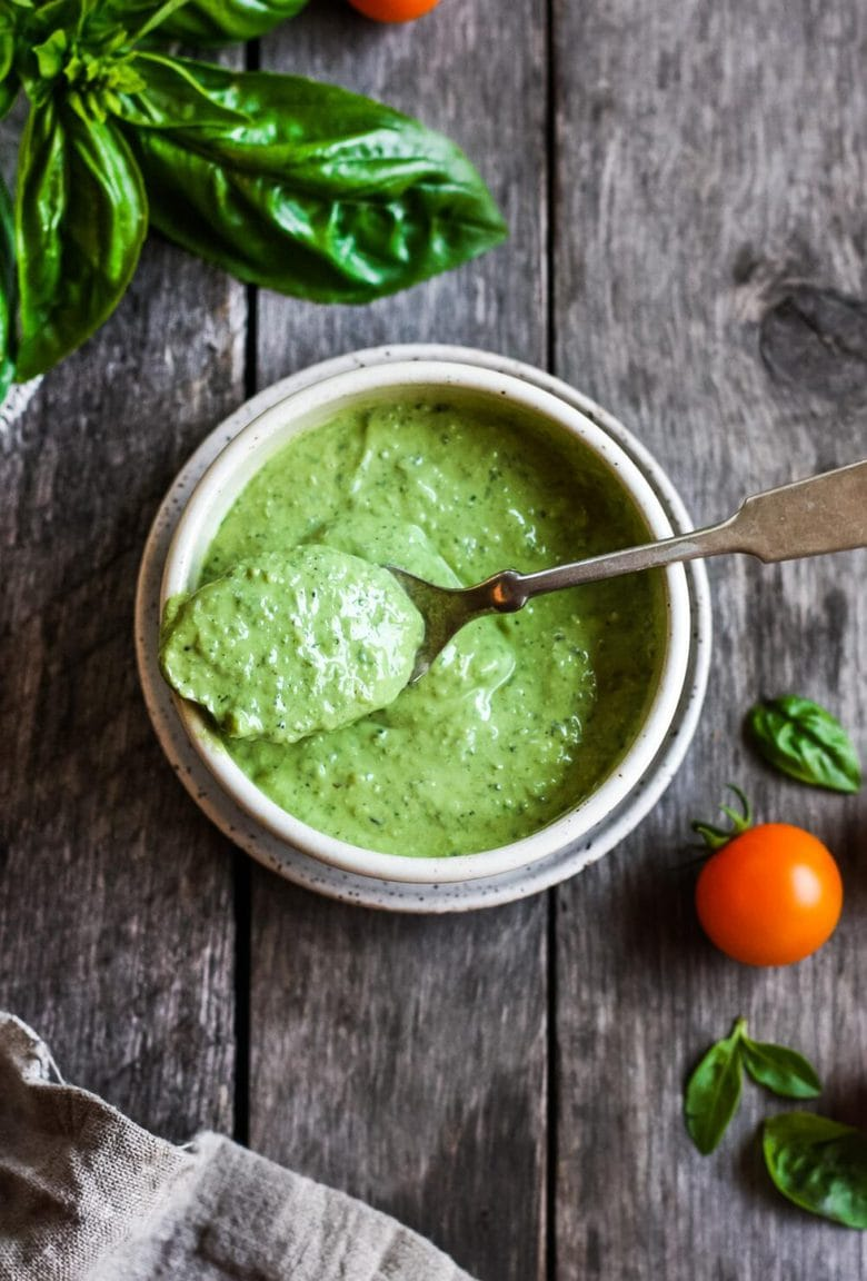 Creamy Pesto Dressing is a rich and vibrant compliment to so many dishes. Simple to make with just 5 ingredients. Perfect for pasta salads,