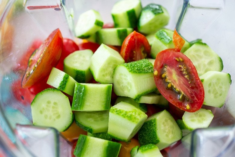cucumbers and tomatoes in a blender