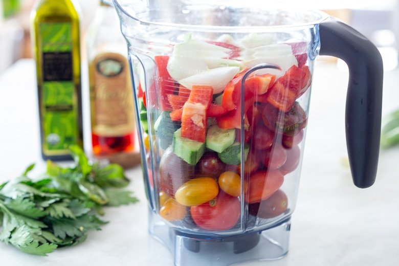 Chop the veggies and place in a blender