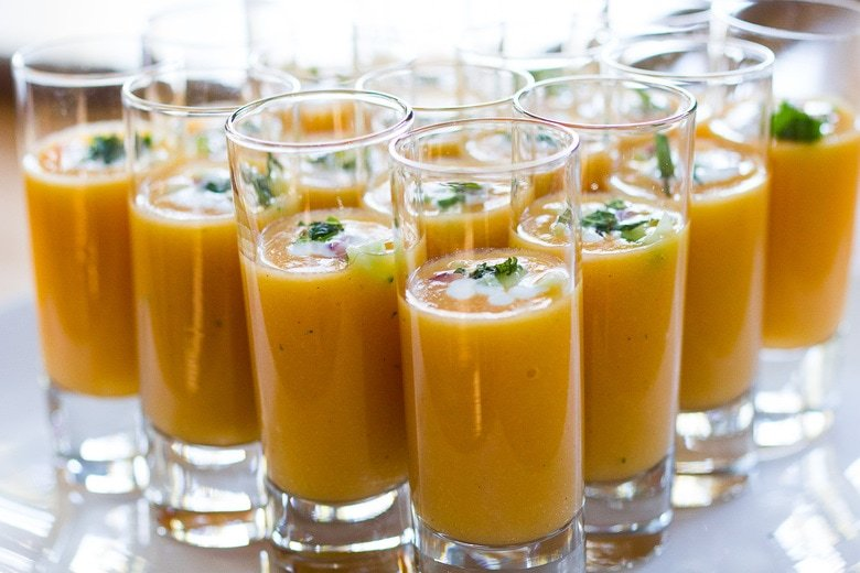 pureed gazpacho in a shot glass