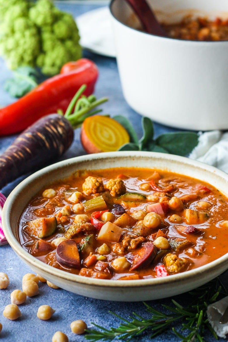 Harvest Vegetable Soup with Roasted Tomato Broth and Chickpeas is brimming with color and nutrients.Adaptable, Vegan and Gluten-Free!