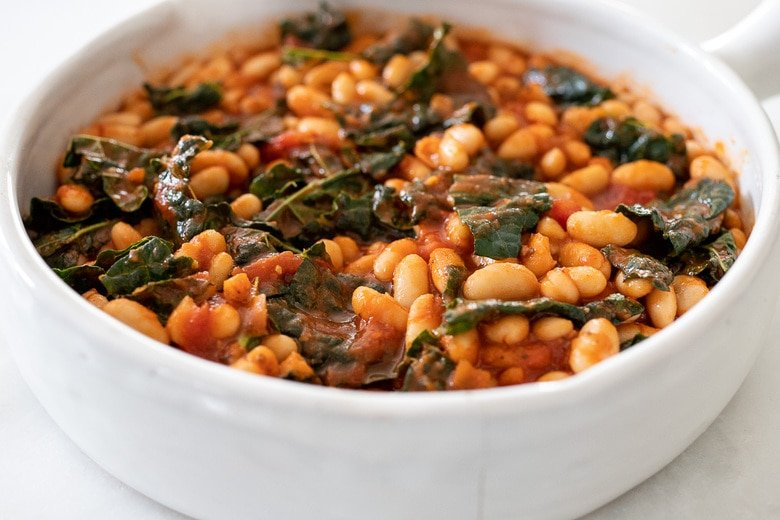 kale and white beans with marinara sauce