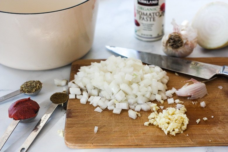 prepping ingredients for Mexican rice