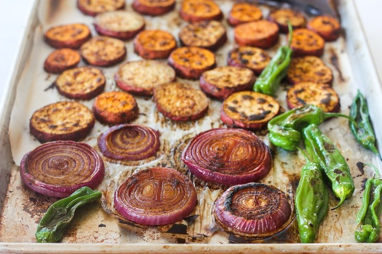 roasted yams, onions and peppers