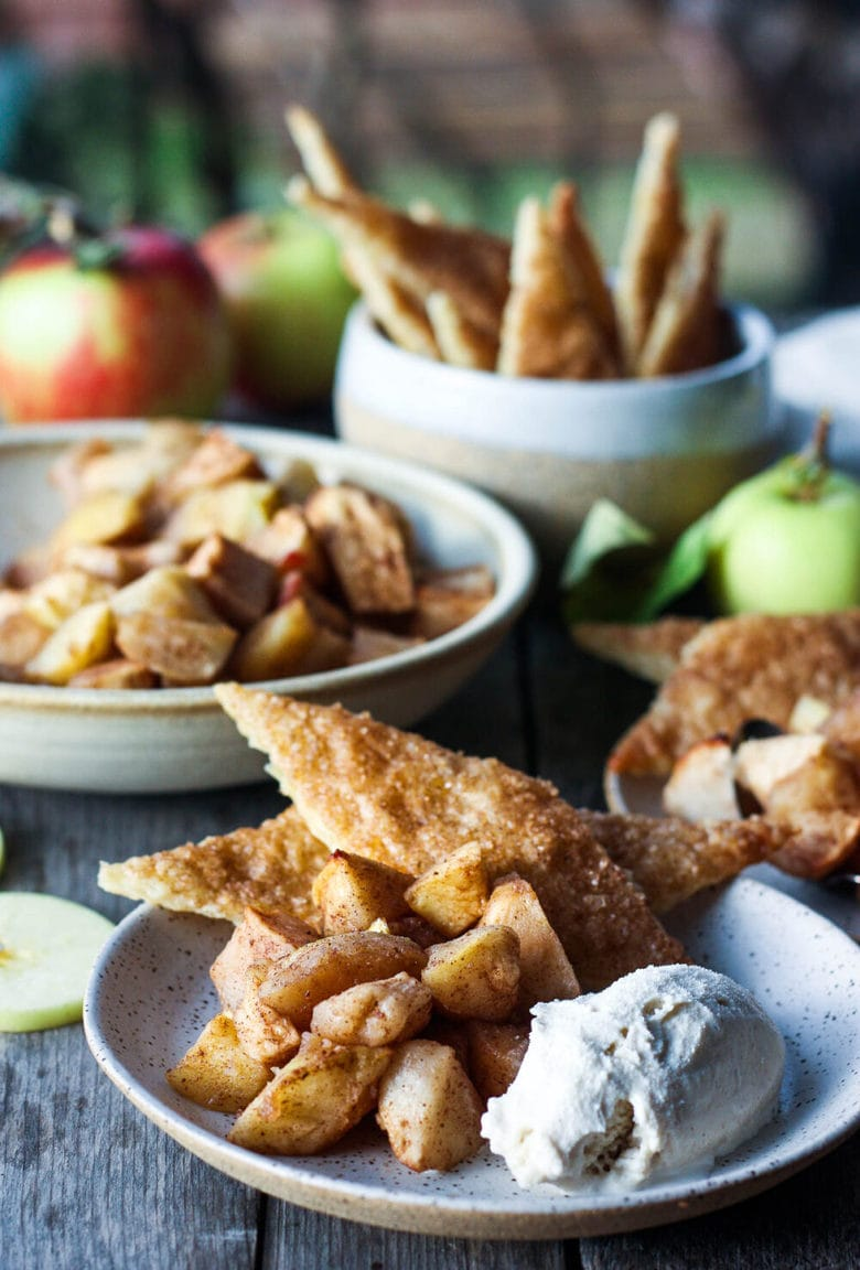 Easy Apple Pie is made with spiced roasted apples and pie crust cookies. A quicker way to make pie with all the comforting flavors and a guaranteed flakey crispy crust.