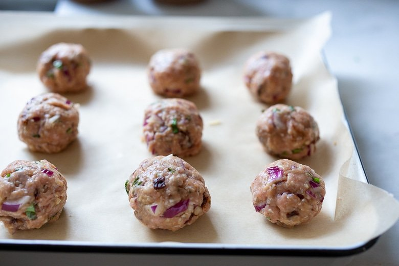 bake the turkey meatballs on a parchment lined sheet pan