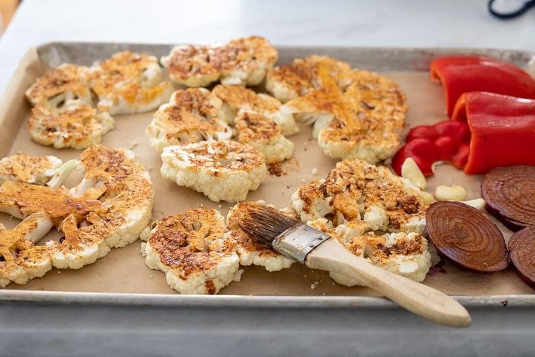 brush the marinade over the cauliflower
